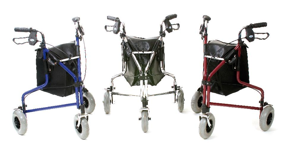 Tri Wheel Walker with Loop Brakes (Red)