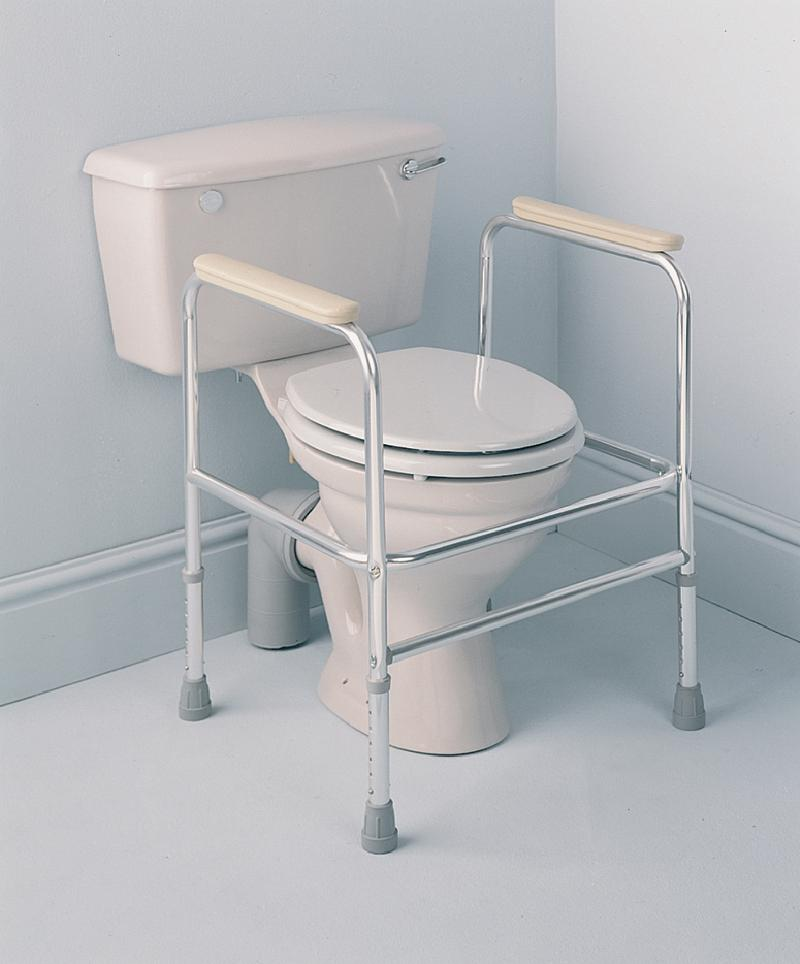 Floor fixed aluminium adjustable height toilet surround