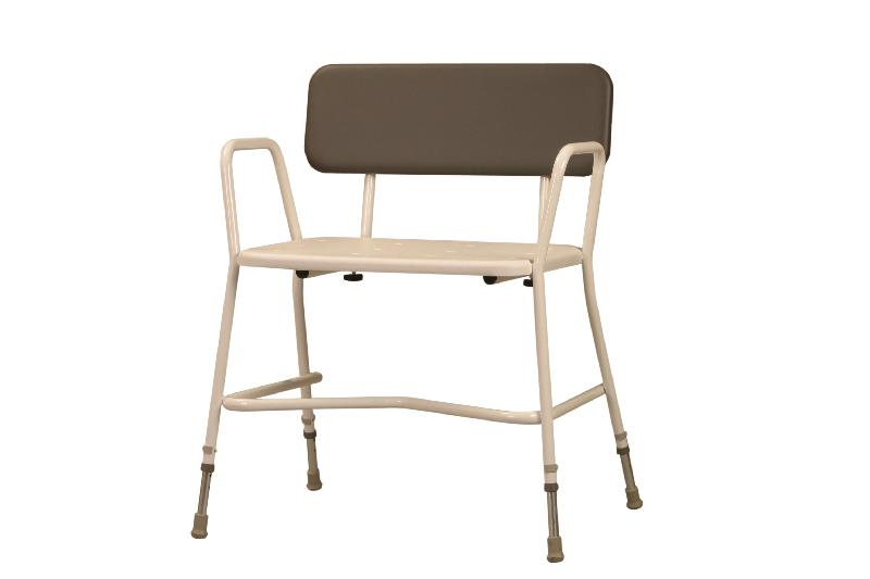 Extra wide shower chair with detachable back