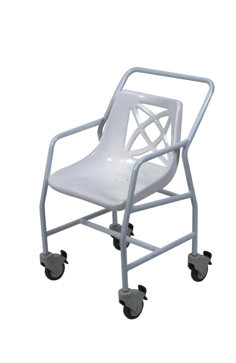 Mobile shower chair with adjustable height