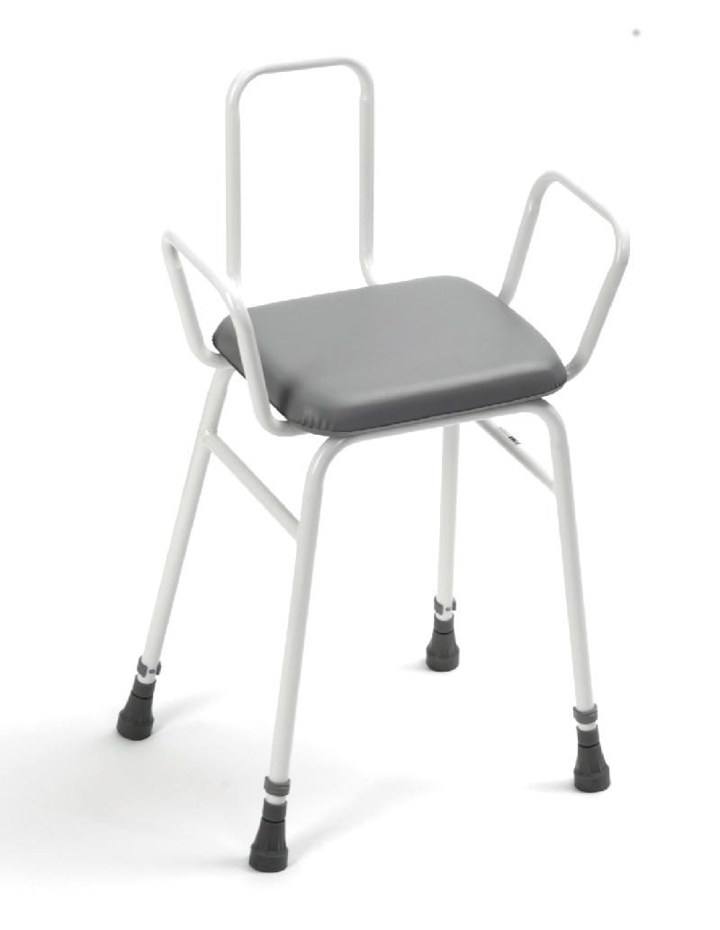 Adjustable Height Perching Stool with arms and back