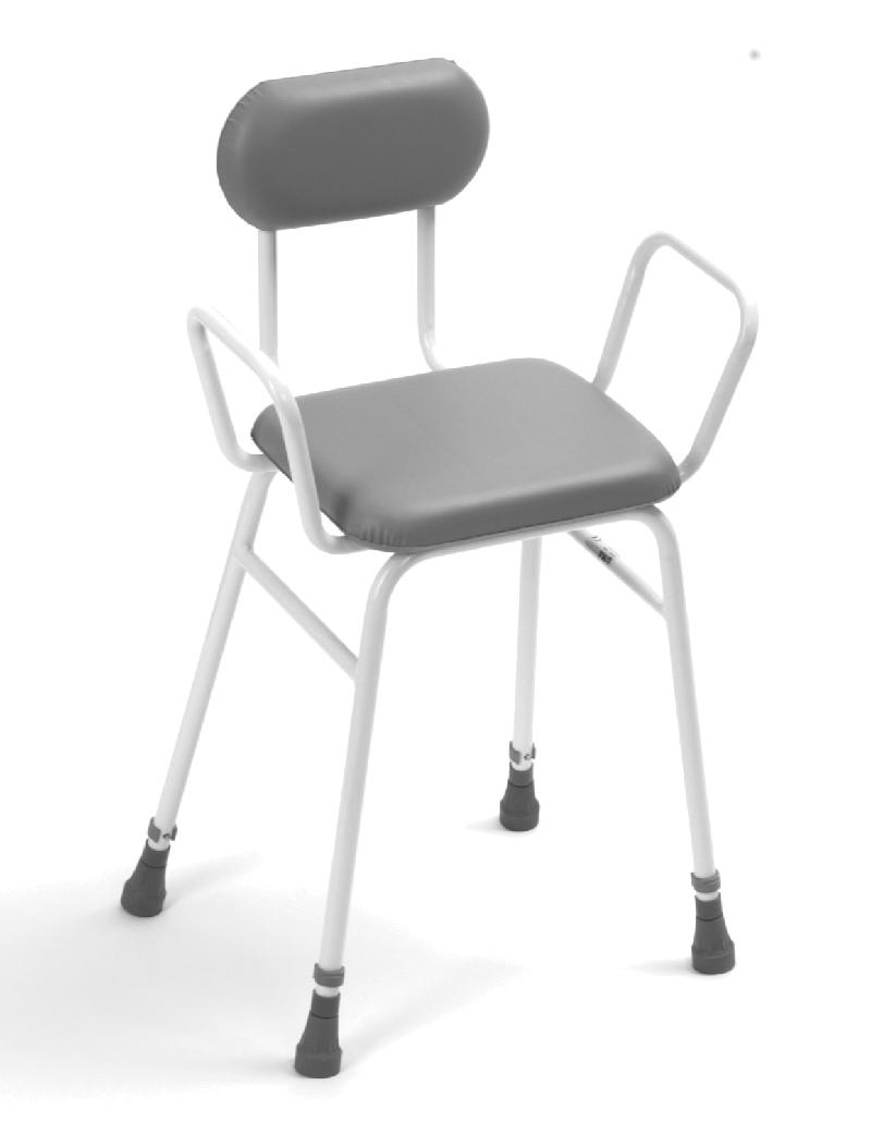 Adjustable Height Perching Stool with arms and upholstered back