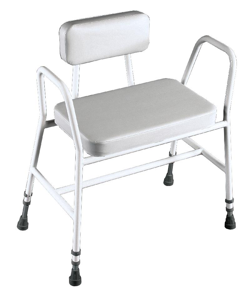 Extra Wide Perching Stool with Arms and Padded Back
