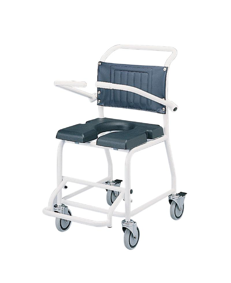 Attendant-propelled gull wing commode & shower chair